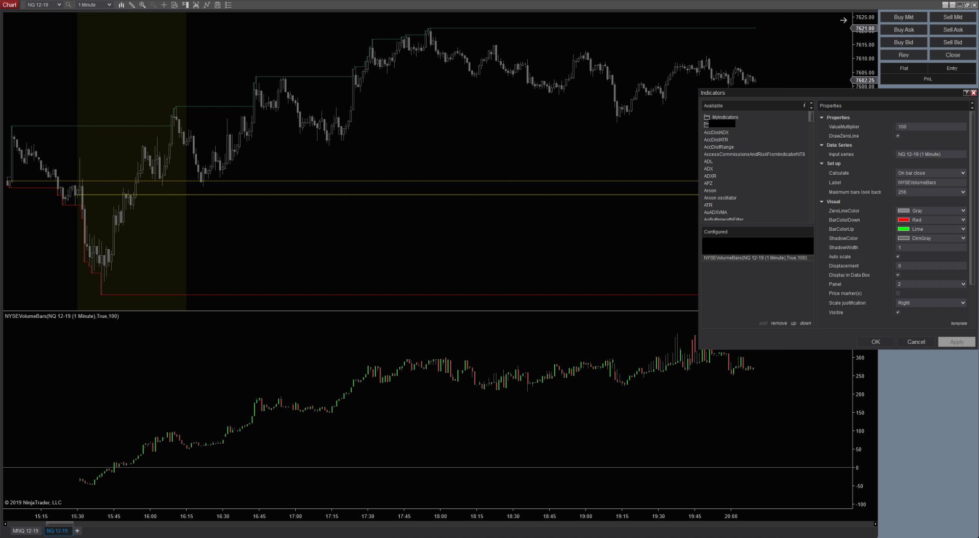 NYSEVolumeBars Indicator NT8